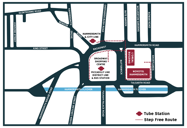 An image of a map of the area around Novotel London West, including a step-free access route from tube stations
