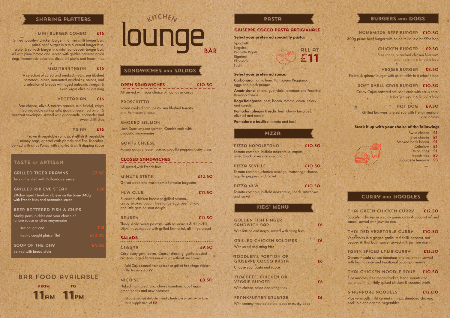 picture of the lounge menu